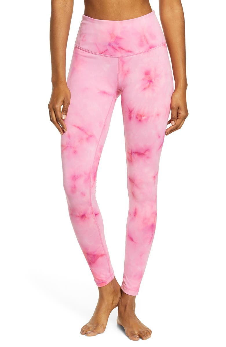 ZELLA Spray Dye High Waist Leggings, Main, color, PINK DANDY