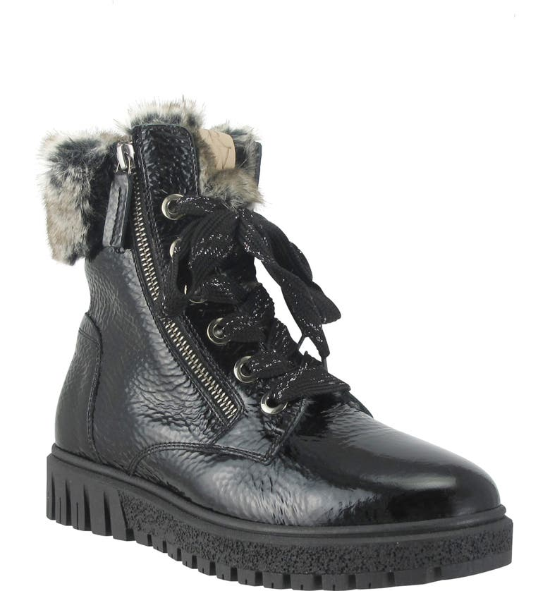 RON WHITE Isla Waterproof Crinkled Boot with Faux Fur Lining, Main, color, ONYX