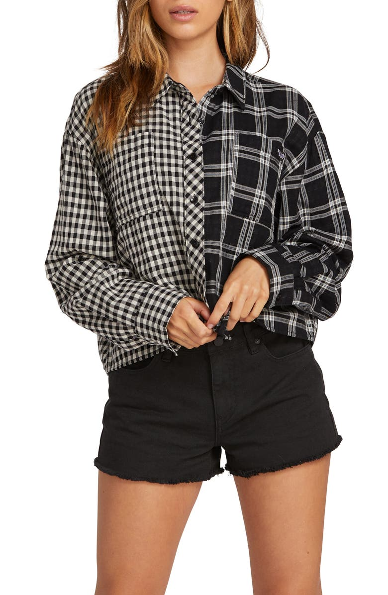 VOLCOM Making Me Plaid Shirt, Main, color, 001