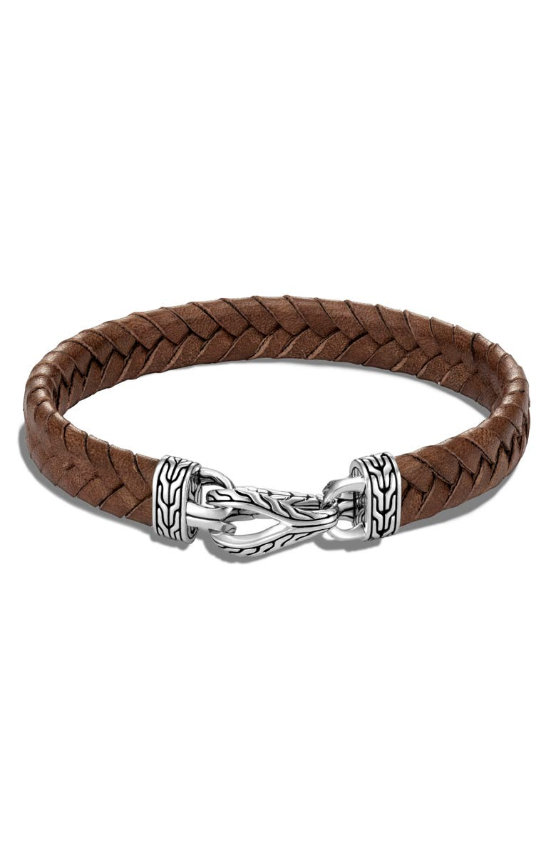 JOHN HARDY Men's Asli Classic Chain Braided Leather Bracelet, Main, color, SILVER/ BROWN