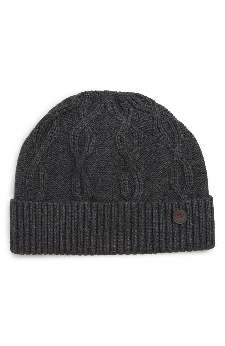TED BAKER LONDON Cable Knit Beanie, Main, color, CHARCOAL