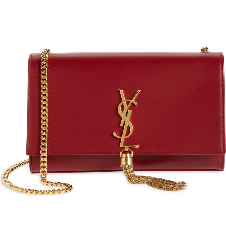 SAINT LAURENT Medium Kate Leather Shoulder Bag, Main, color, OPYM RED