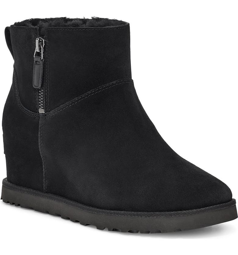 UGG<SUP>®</SUP> Classic Femme Mini Wedge Bootie, Main, color, BLACK SUEDE