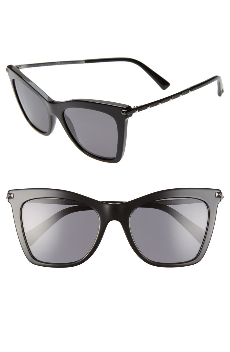 VALENTINO 54mm Polarized Cat Eye Sunglasses, Main, color, BLACK/ SMOKE SOLID