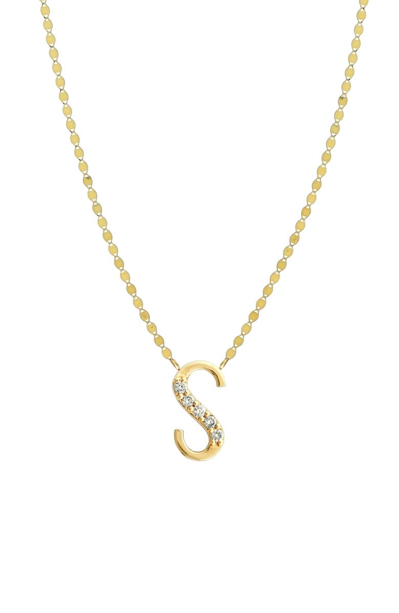 LANA JEWELRY Initial Pendant Necklace, Main, color, YELLOW GOLD- S