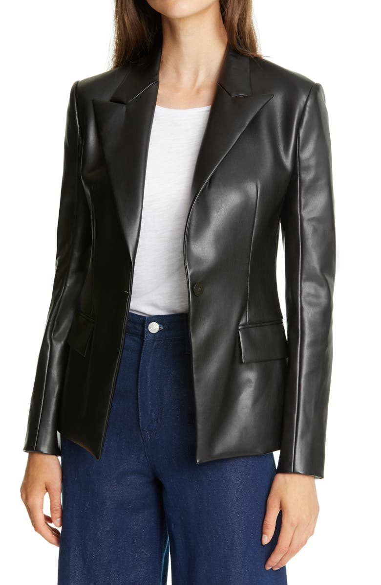 THEORY Peaked Lapel Faux Leather Blazer, Main, color, 001