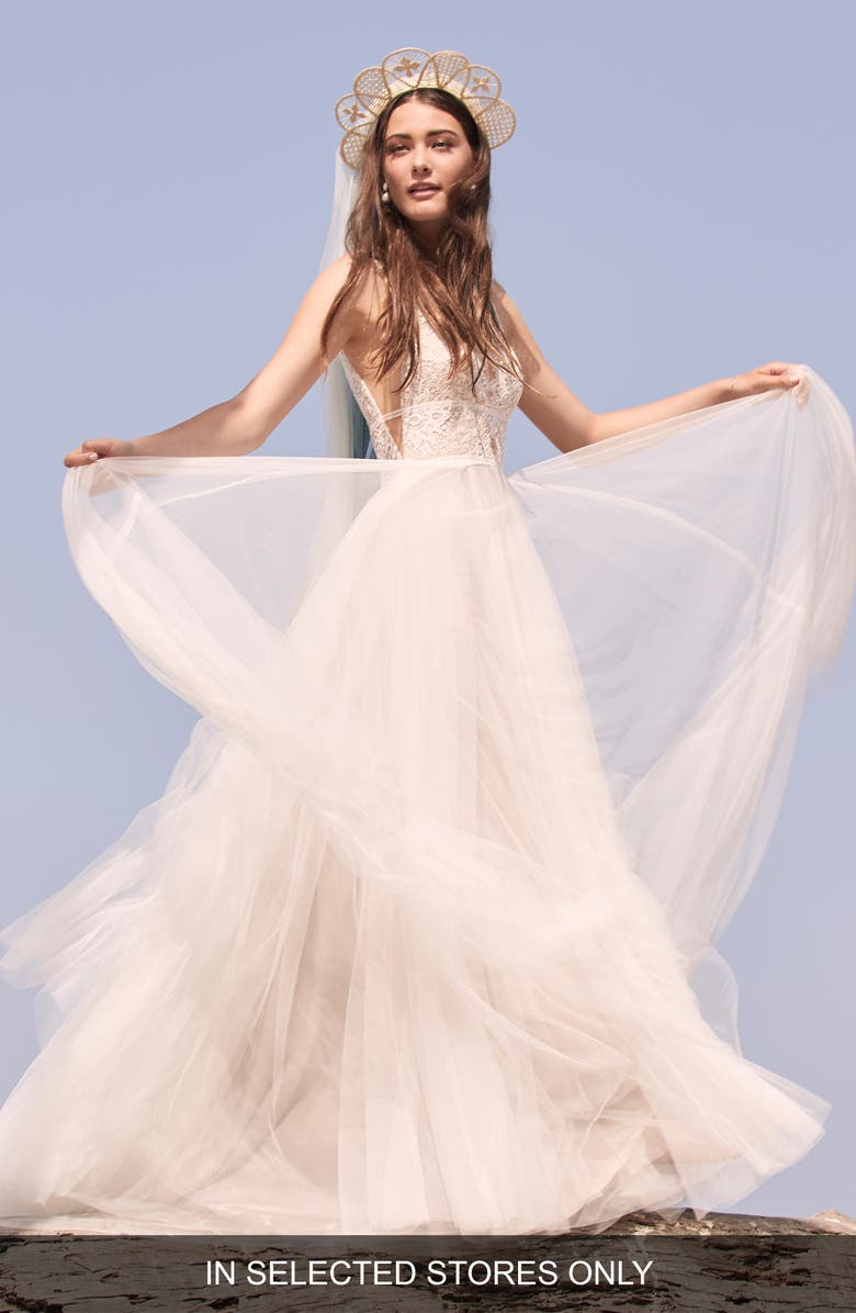 WILLOWBY Delena Lace & Tulle Wedding Dress, Main, color, 901