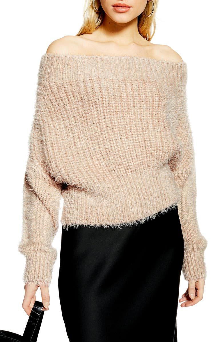 TOPSHOP Fluffy Off the Shoulder Sweater, Main, color, 250