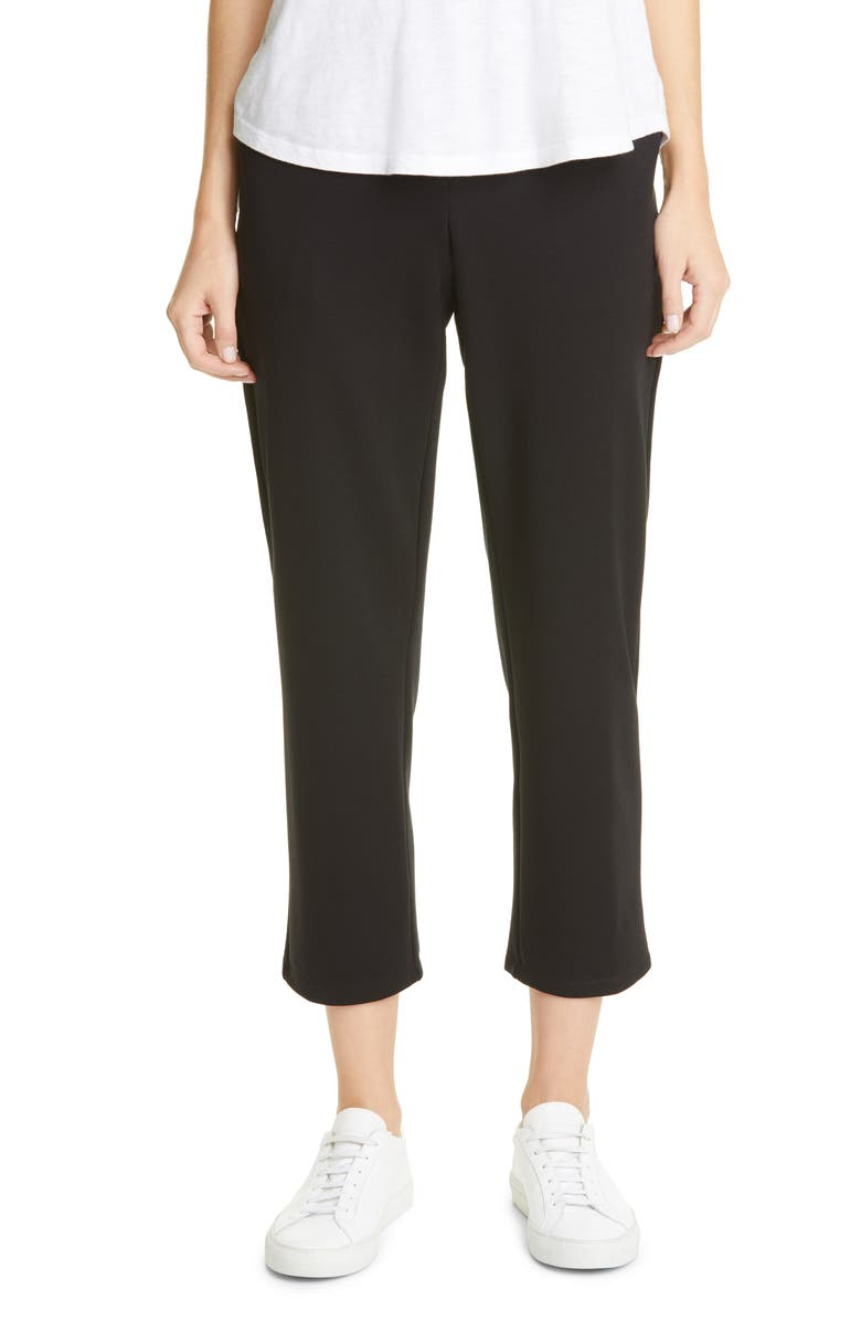EILEEN FISHER Slouchy Tencel<sup>®</sup> Lyocell Blend Ankle Pants, Main, color, BLACK