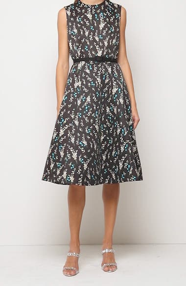 Floral Print Belted A-Line Satin Dress, video thumbnail
