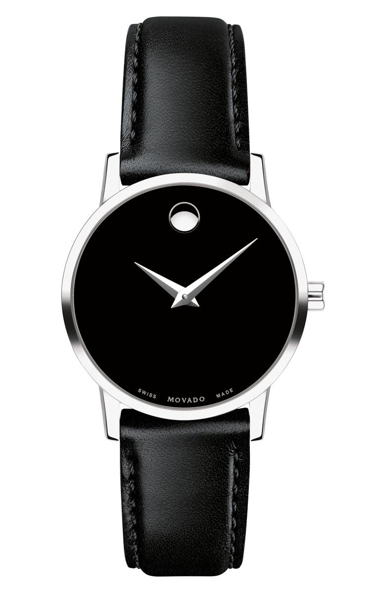 MOVADO Leather Strap Watch, 28mm, Main, color, 001