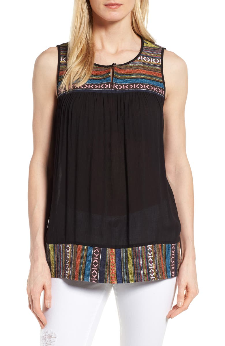 PLEIONE Embroidered Mixed Media Top, Main, color, 001