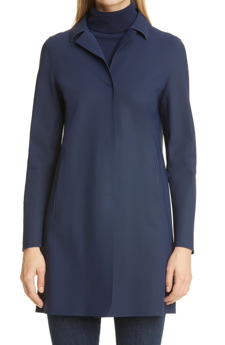 HERNO First Act Stretch Jersey Coat, Main, color, BLUE