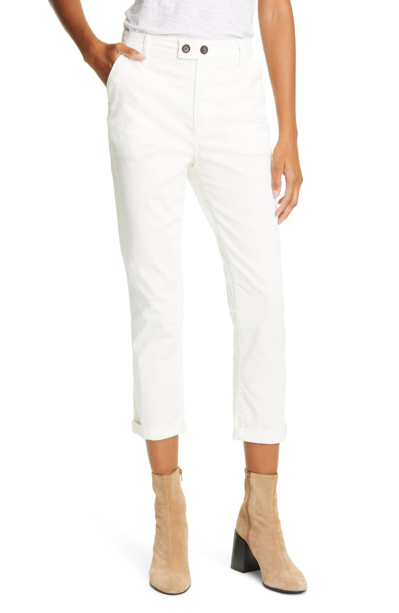 FRAME Le Beau Ankle Chino Pants, Main, color, OFF WHITE
