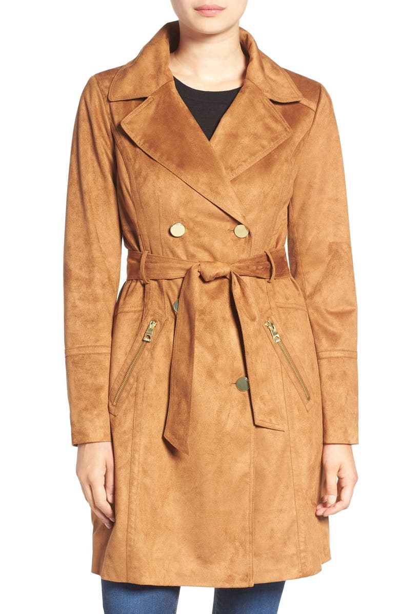 GUESS Faux Suede Double Breasted Trench Coat, Main, color, 240