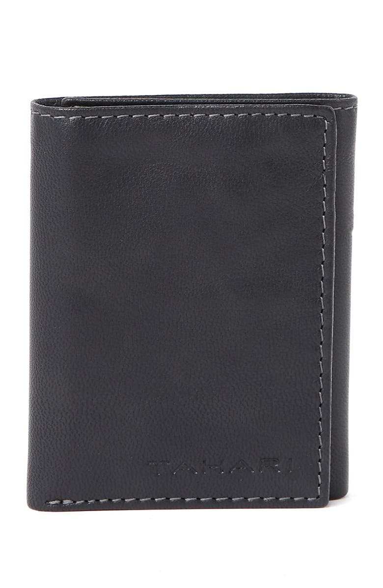TAHARI RFID Trifold Antique Leather Wallet, Main, color, 08RF-BLACK