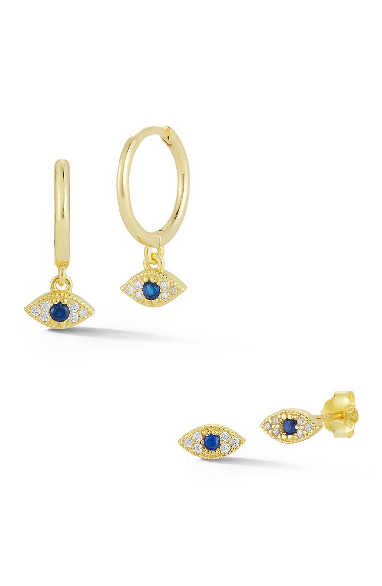 SPHERA MILANO 14K Gold Plated Sterling Silver CZ Evil Eye Earrings Set, Main, color, YELLOW GOLD