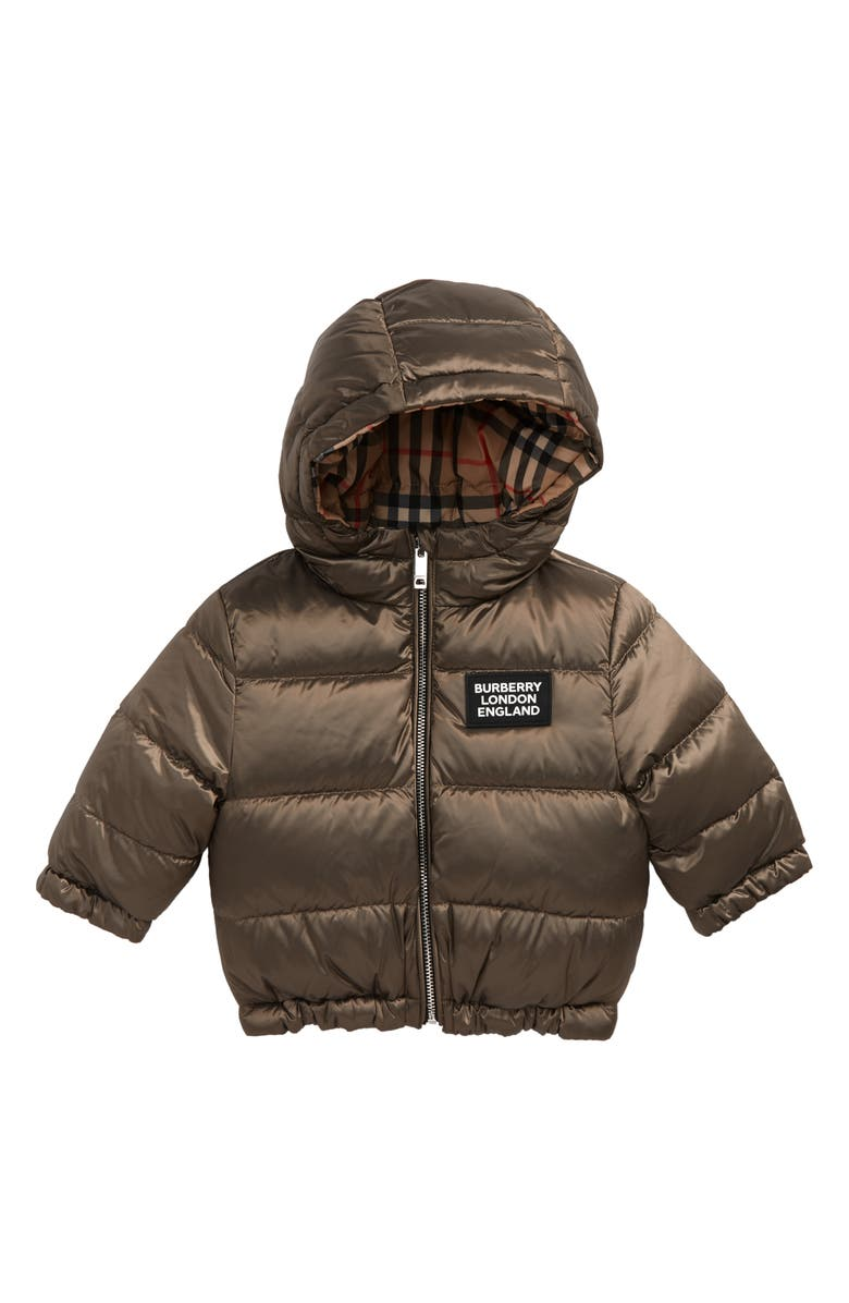 BURBERRY Rayan Reversible Hooded Down Puffer Jacket, Main, color, 200
