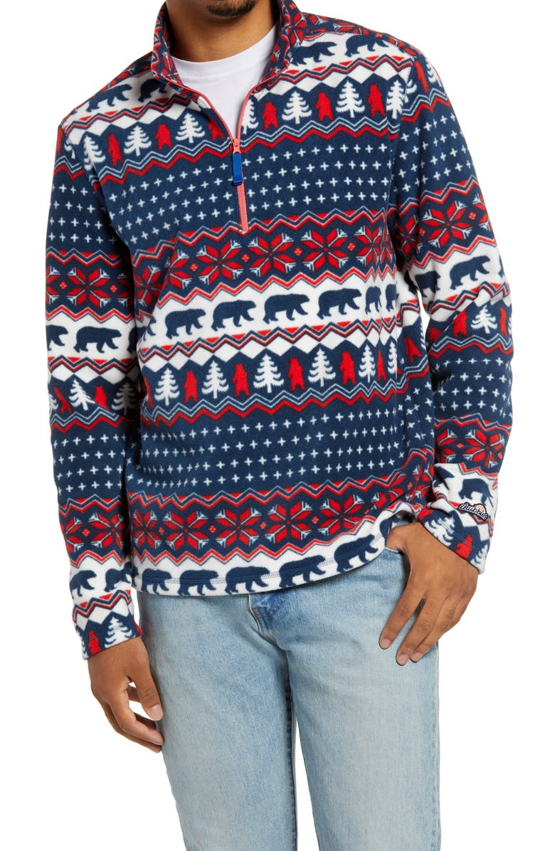 CHUBBIES The Bearly Wild Fair Isle Fleece Half Zip Pullover, Main, color, MEDIUM RED