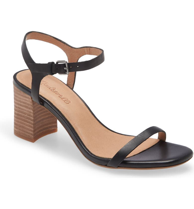 MADEWELL The Hollie Ankle Strap Sandal, Main, color, TRUE BLACK