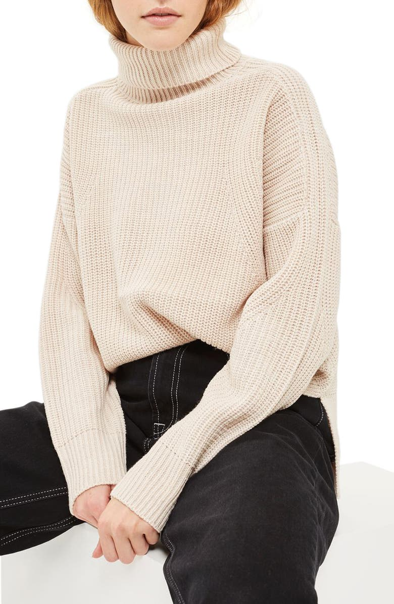 TOPSHOP Boxy Ribbed Roll Neck Sweater, Main, color, 251