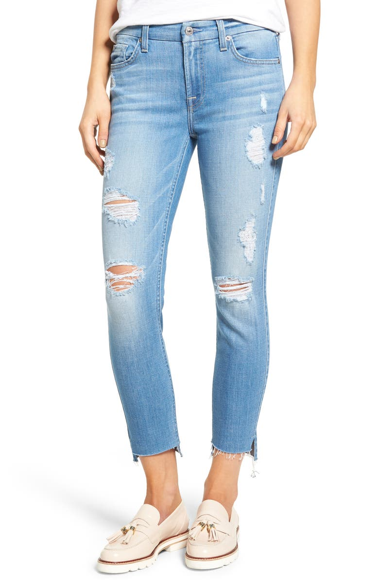 7 FOR ALL MANKIND<SUP>®</SUP> Step Hem Ankle Skinny Jeans, Main, color, 400