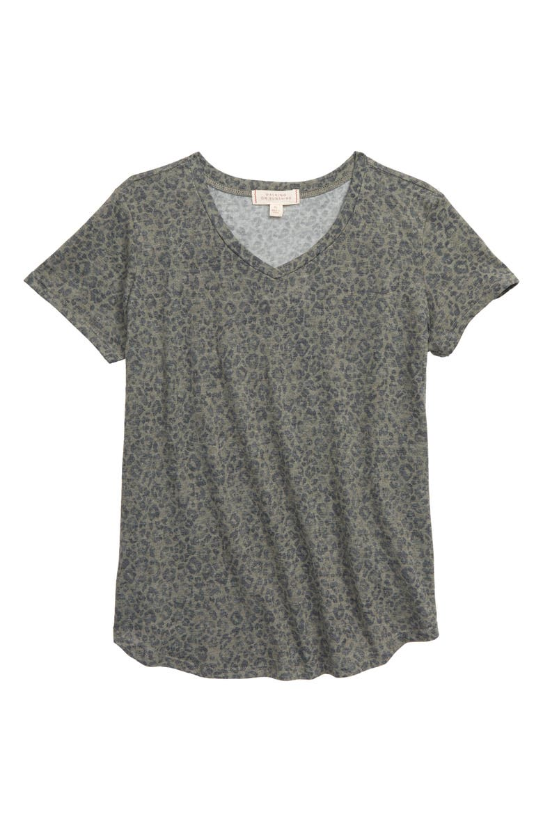 WALKING ON SUNSHINE Kids' Print V-Neck T-Shirt, Main, color, OLIVE LEOPARD
