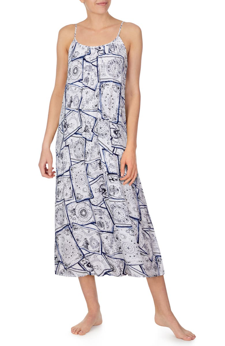 REFINERY29 Print Long Chemise, Main, color, CAMEO ASTROLOGICAL POSTCARDS