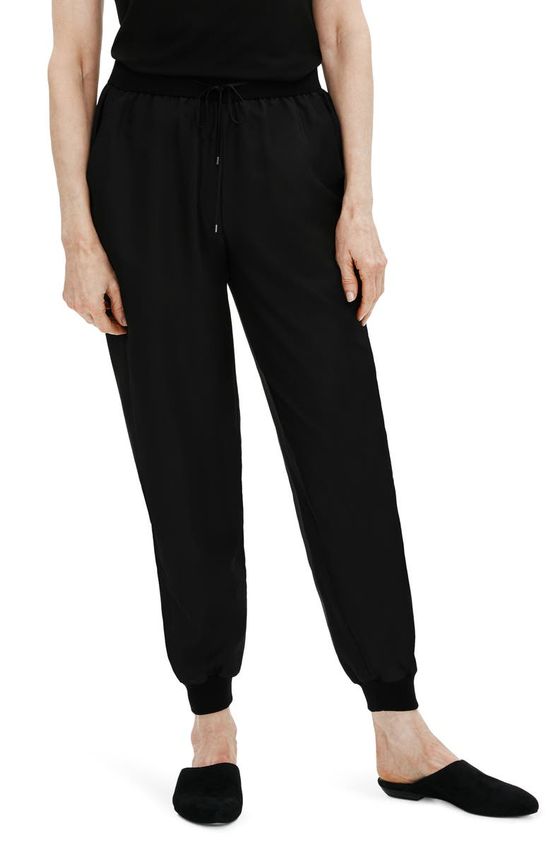 EILEEN FISHER Smooth Silk Slouchy Ankle Pants, Main, color, BLACK