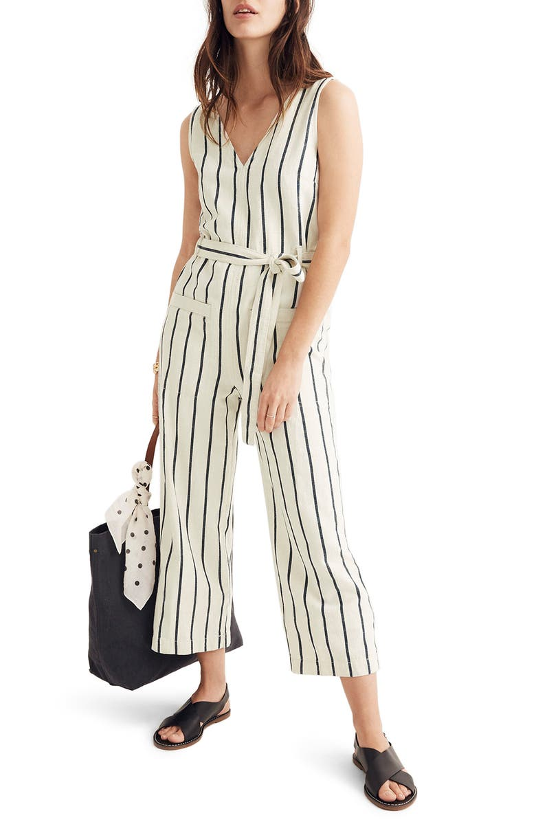MADEWELL Stripe Jumpsuit, Main, color, 401