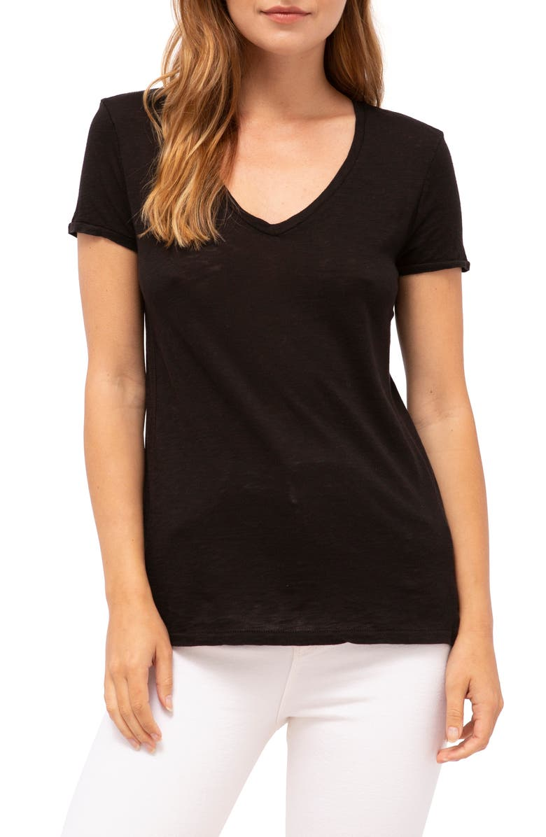 STATESIDE Heathered Jersey V-Neck Tee, Main, color, 001