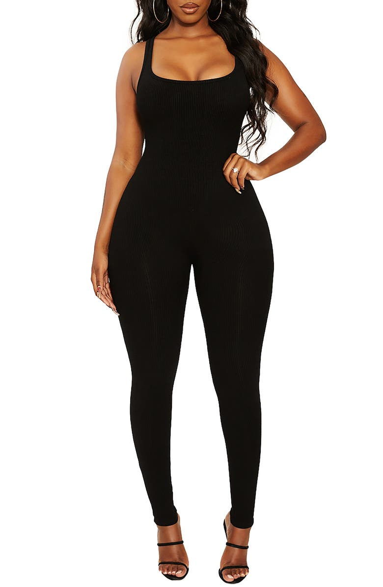NAKED WARDROBE All Snatched Sleeveless Jumpsuit, Main, color, BLACK