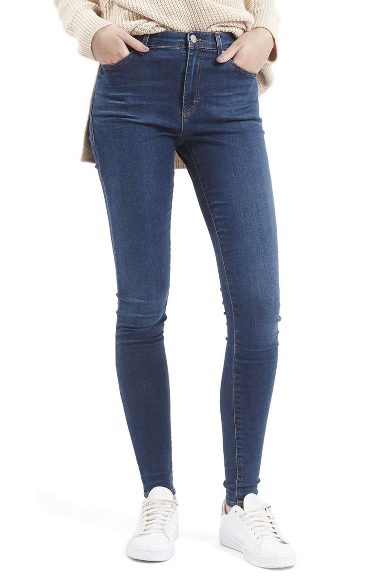 TOPSHOP 'Leigh' Skinny Jeans, Main, color, MID DENIM