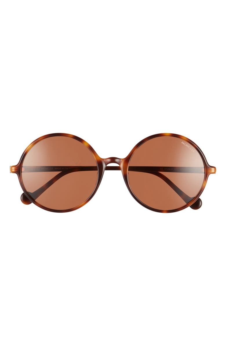 MONCLER 57mm Round Sunglasses, Main, color, DARK HAVANA/ BROWN