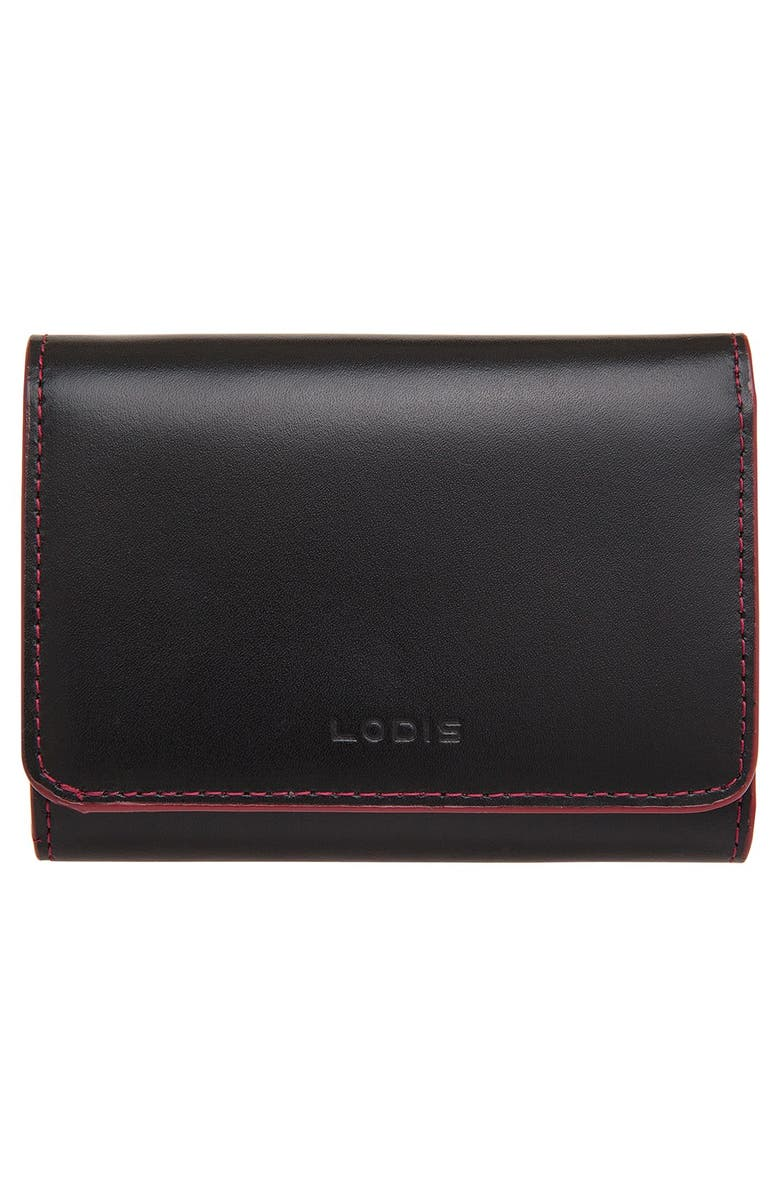 LODIS LOS ANGELES Lodis 'Audrey - Mallory' Leather French Wallet, Main, color, BLACK
