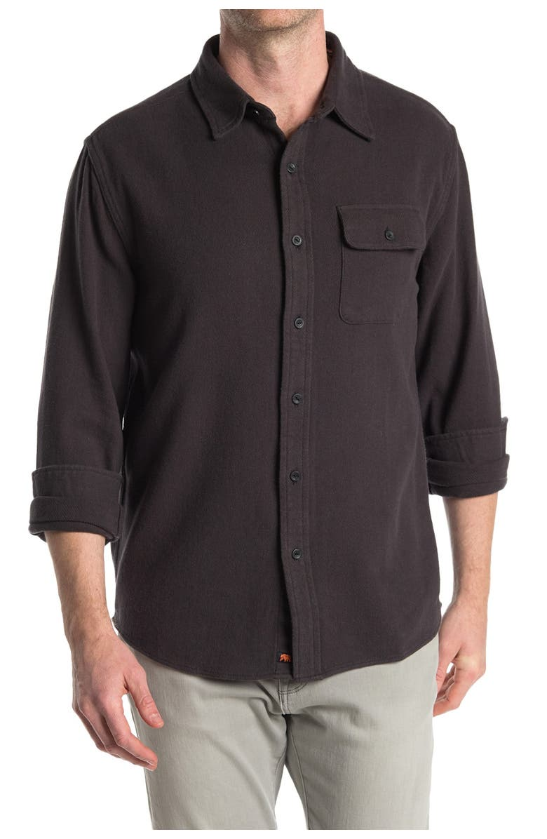THE NORMAL BRAND Boone Heavy Brished Twill Regular Fit Shirt, Main, color, CHARCOAL