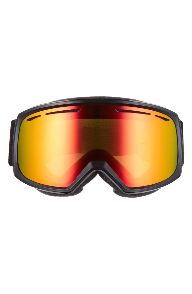 SMITH Drift 180mm Snow Goggles, Main, color, BLACK/ RED SOL-X MIRROR