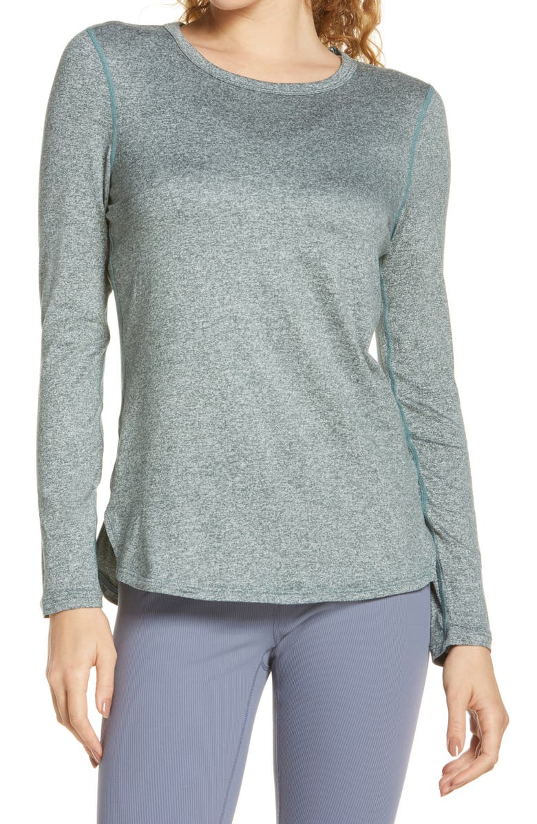 ZELLA Liana Long Sleeve Recycled Blend Performance T-Shirt, Main, color, TEAL TITANIC