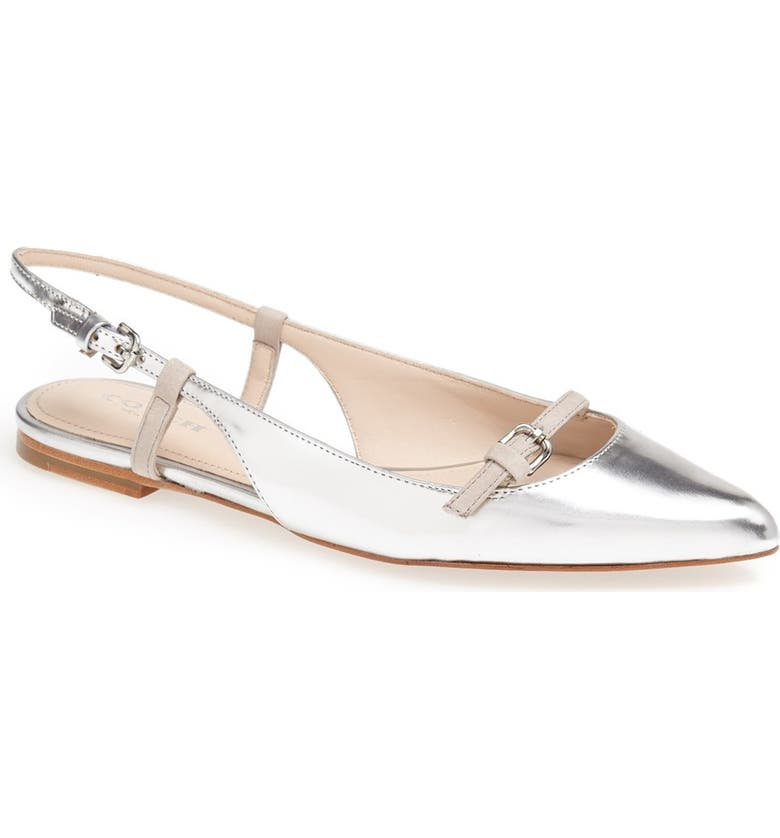 COACH 'Wooster' Pointed Toe Flat, Main, color, SILVER/ CLOUD