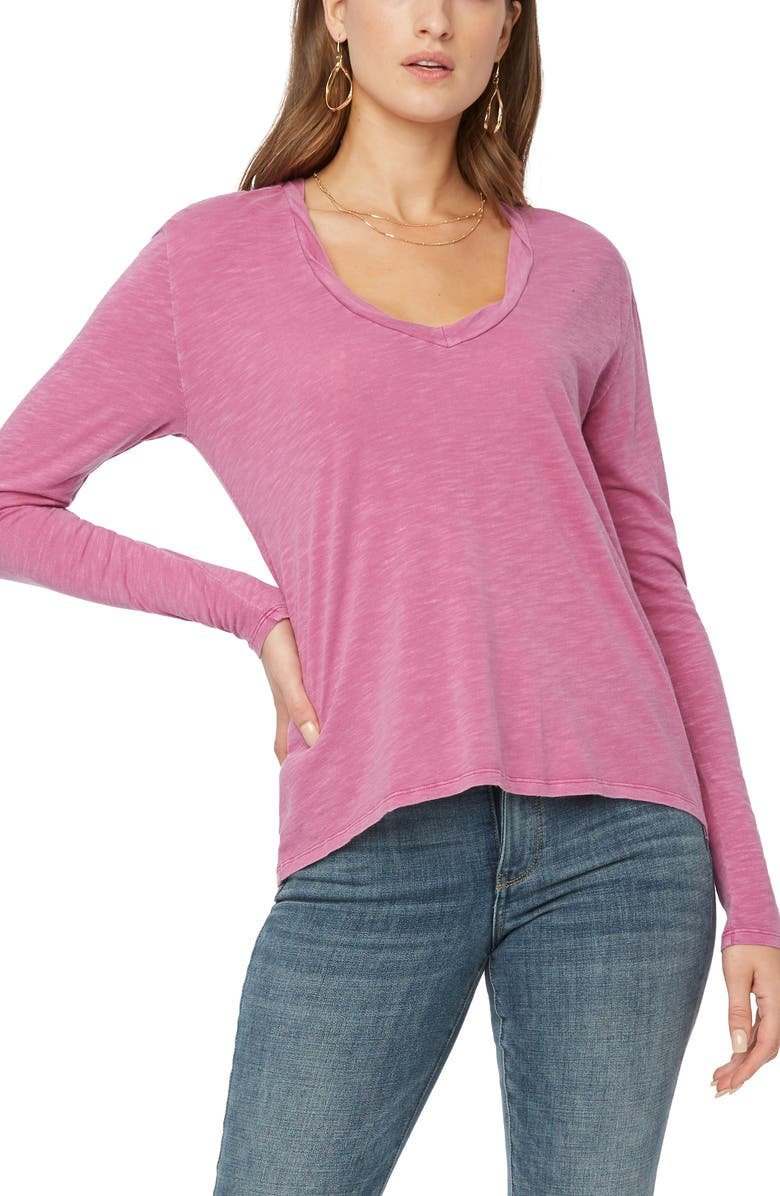 NYDJ Twist Neck Long Sleeve T-Shirt, Main, color, MAGENTA