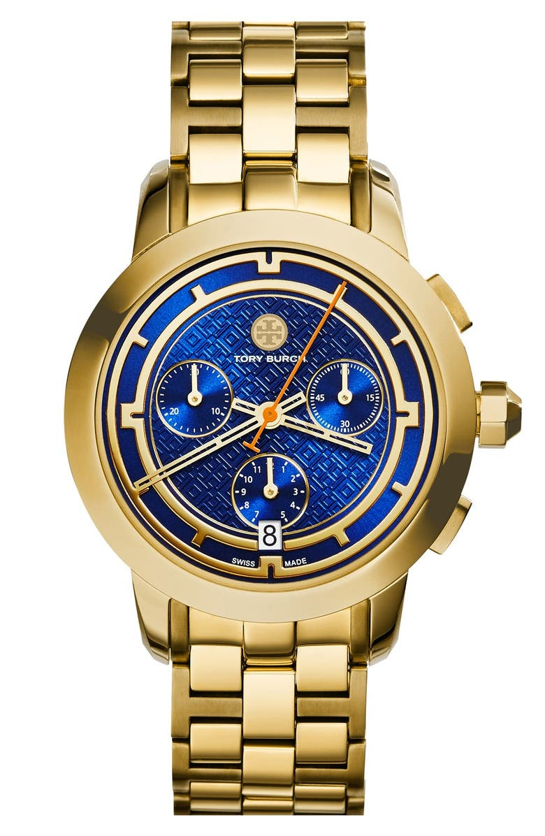TORY BURCH 'Tory' Chronograph Bracelet Watch, 37mm, Main, color, 711
