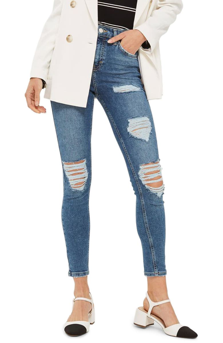 TOPSHOP Jamie Distressed Ankle Skinny Jeans, Main, color, 400