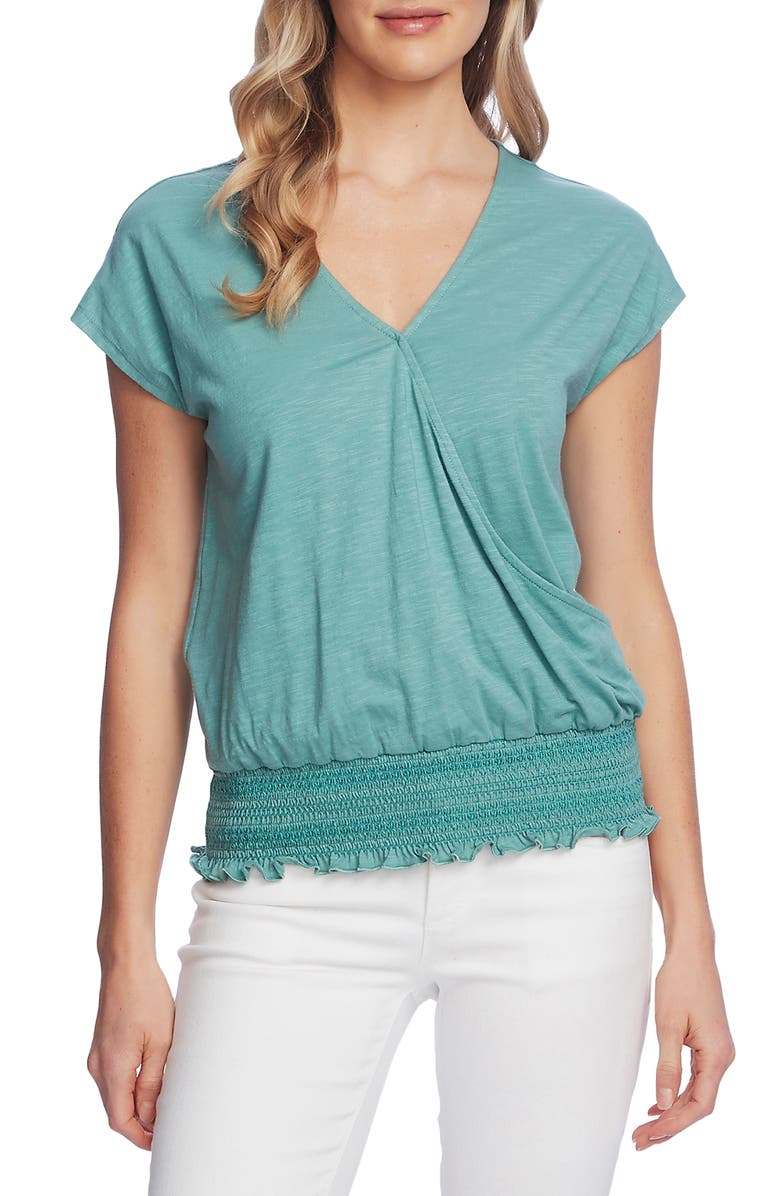 VINCE CAMUTO Cap Sleeve Faux Wrap Top, Main, color, TEAL LAKE