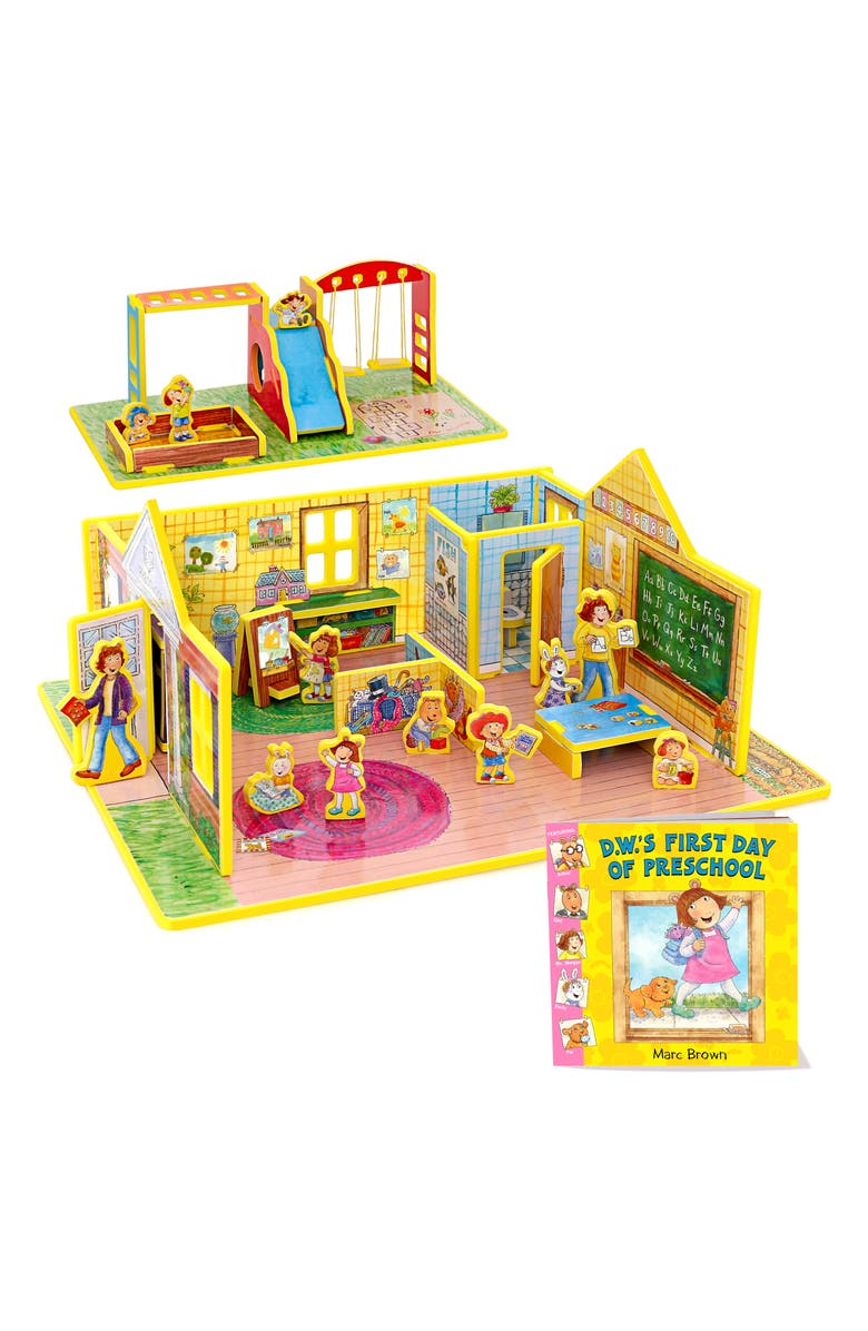 STORYTIME 'D.W.'s First Day of Preschool' Book & Play Set, Main, color, 960