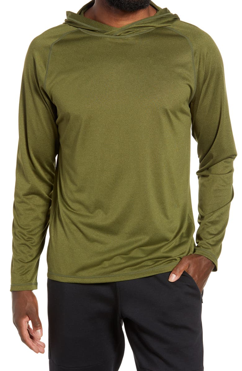 ZELLA Men's Performance Hoodie, Main, color, GREEN CYPRESS MELANGE