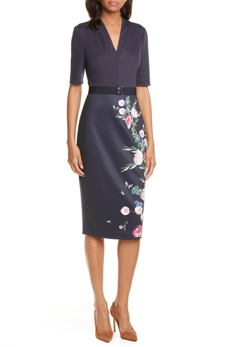 TED BAKER LONDON Norraa Fantasia Body-Con Dress, Main, color, 410