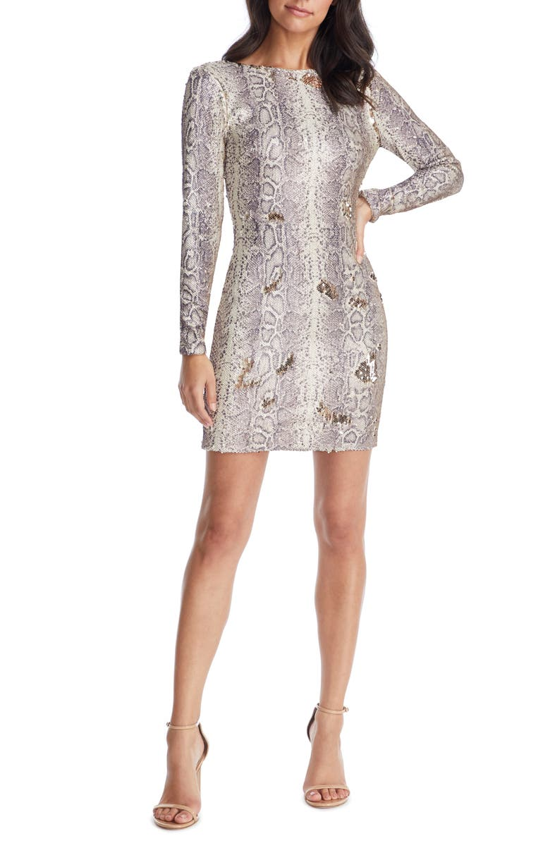 DRESS THE POPULATION Lola Long Sleeve Python Sequin Minidress, Main, color, 060