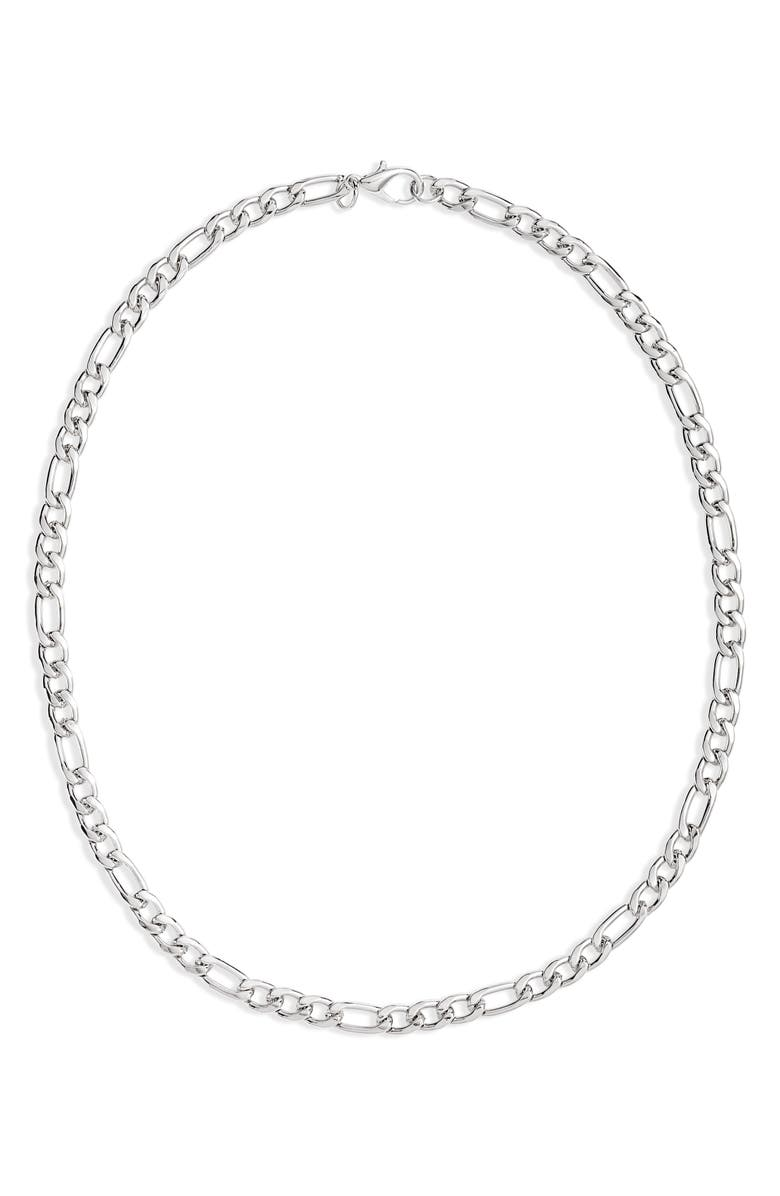 NORDSTROM Classic Figaro Chain Necklace, Main, color, SILVER