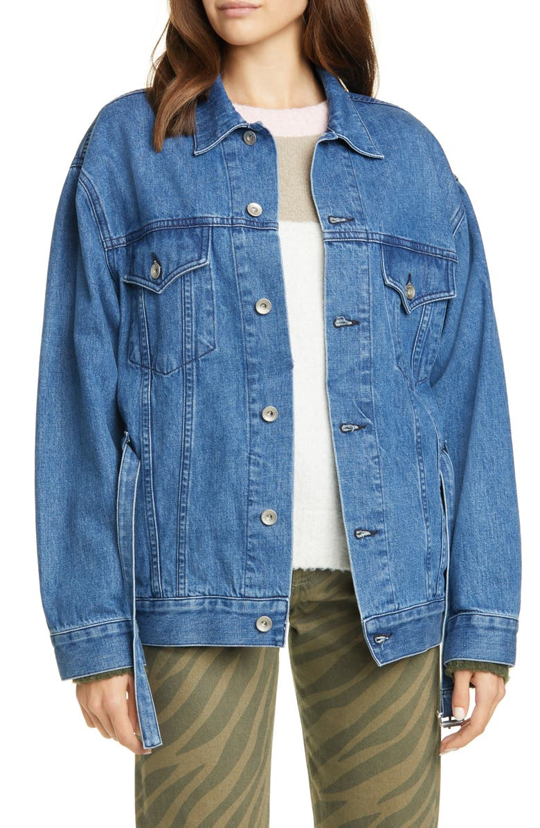 RAG & BONE Max Belted Denim Trucker Jacket, Main, color, 420