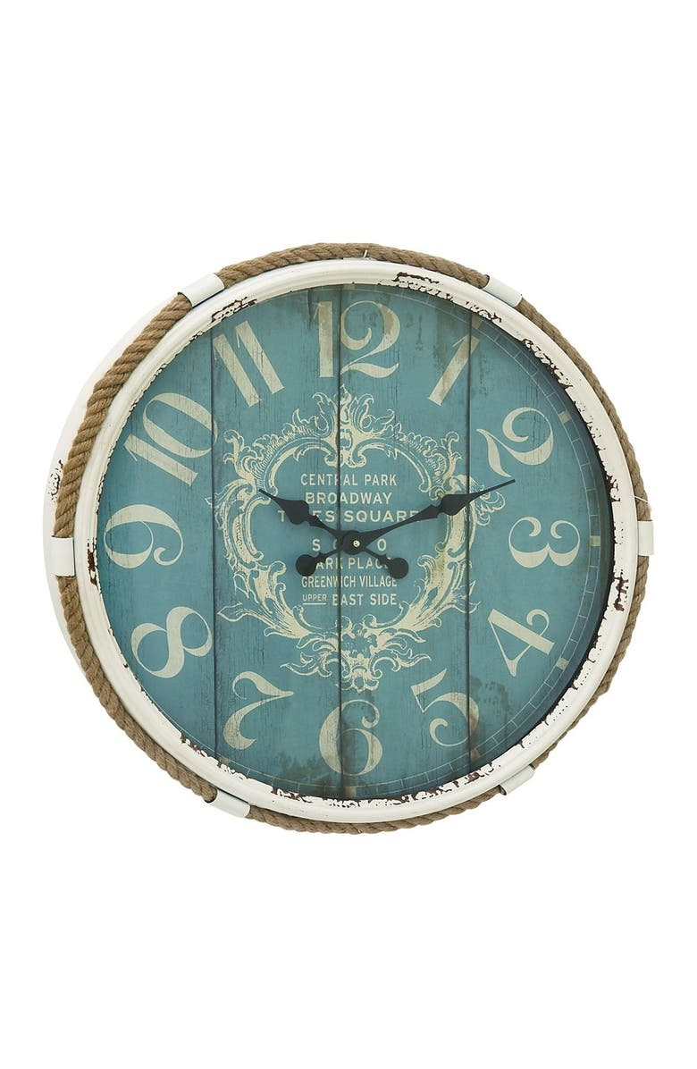 WILLOW ROW Teal Large Round Coastal Rope Accented Wall Clock, Main, color, TURQUOISE